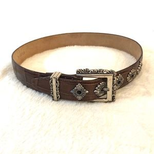 Brighton Brown Leather Belt w/ Silver Detailing Sm